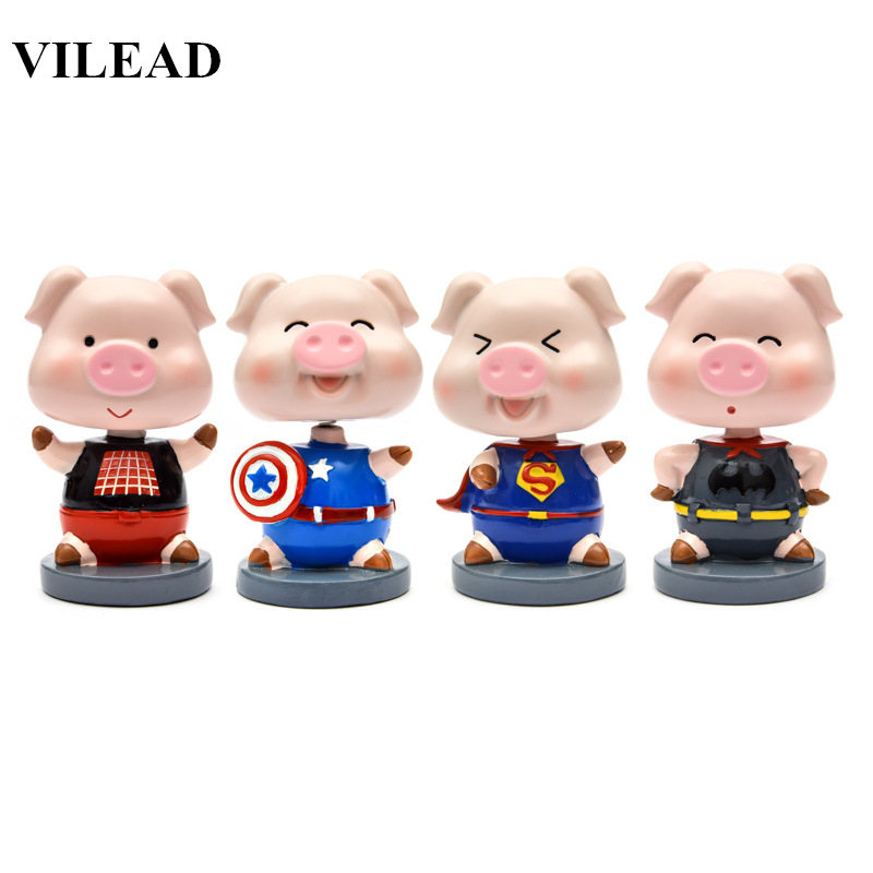 Official Website Action Figure Mini Toys 3.3 Cute Hanppiness Good Luck Pig Figurine Spring Neck Shakeable Head Model For Car Home Decoration Toys & Hobbies