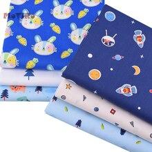 MoTiRo,6pcs/lot,Cotton Printed Twill Fabric Patchwork,Blue Cartoon Series Material Bundle of Crafts/Sewing/Scrapbooking/Handmade