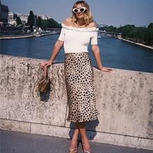 Women Leopard Print Long Skirt Sexy Asymmetrical High Waist Chiffon Ski