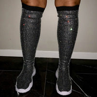 Rhinestone Boots Over the Knee Boots Stretchy Knitting Crystal Sock Boots Women Platform Shoes Black Red Long Sneakers for Women
