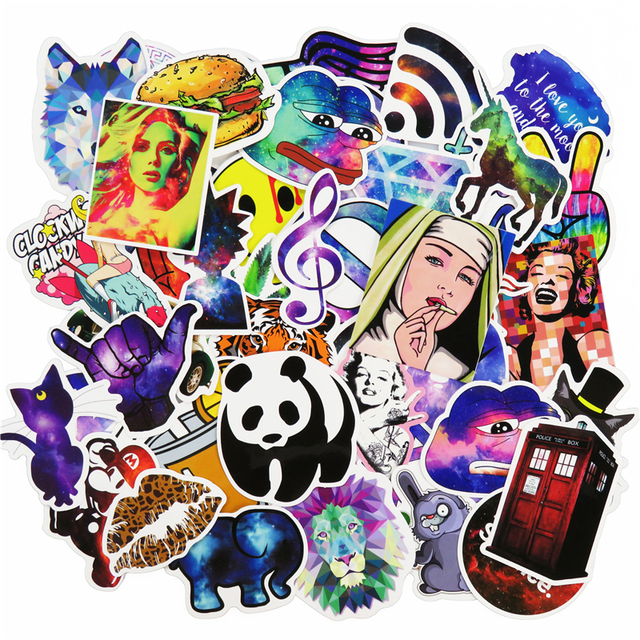 51 Pcs Galaxy Mixed Funny Cartoon Laptop Sticker