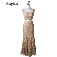 BeryLove Two Pieces Mermaid Champagne Evening Dresses 2018 Lace Prom Dresses Styles Evening Gowns Formal Dress Prom Party Gowns