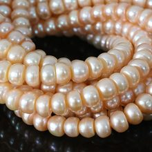 DYY+++ Natural freshwater pink pearl 9-10mm abacus loose beads jewelry 15inch(China)