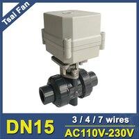 DN15 PVC Actuated Valve TF15 P2 C AC110V 230V 4 Wires BSP NPT 1 2 10NM