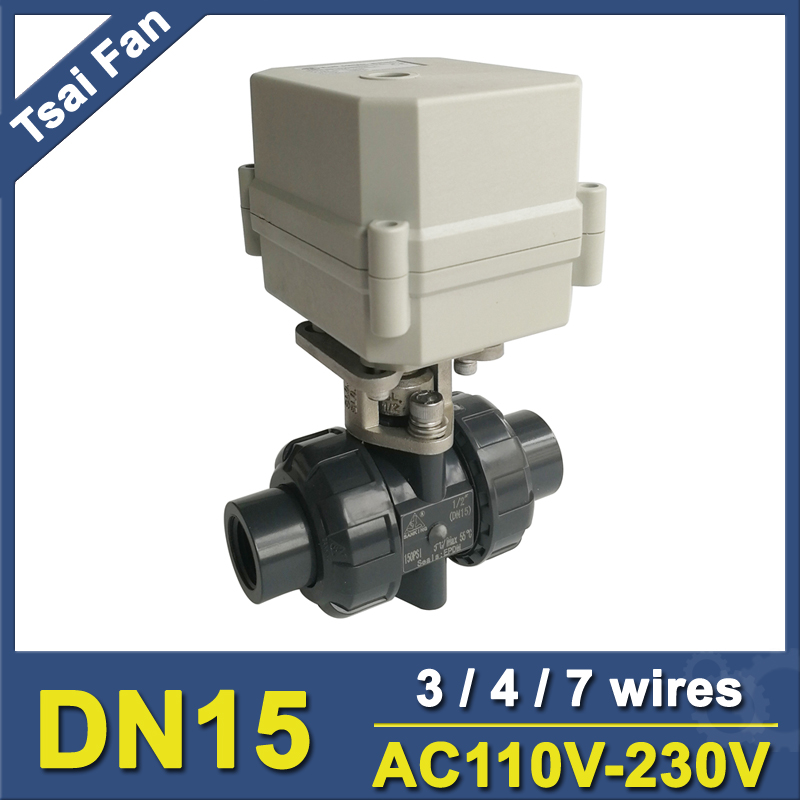 DN15 PVC Actuated Valve TF15-P2-C AC110V-230V 3/4/7 Wires BSP/NPT 1/2'' 10NM On/Off 15 Sec Electric Shut Off Valve Metal Gear CE tf20 s2 c high quality electric shut off valve dc12v 2 wire 3 4 full bore stainless steel 304 electric water valve metal gear