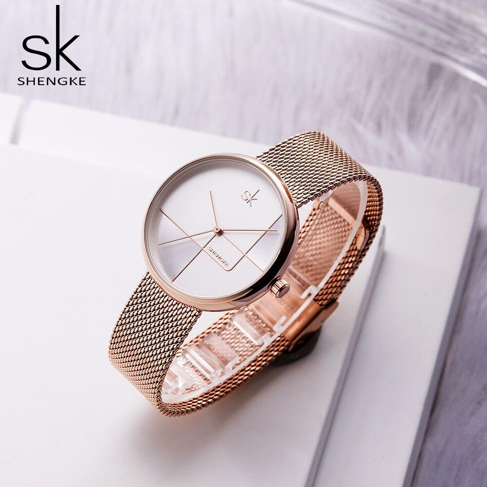 SK Women's Watch Fashion Stainless Steel Rose Gold Wrist Watch Vintage Ladies Watch Clock Mujer Bayan Kol Saati Montre Feminino