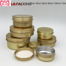 Free Shipping 30g/ml 50g/ml 80g/ml 100g/ml Gold Empty Aluminum Cosmetic Cream Bottles Jars Top Grade  Candle Pack Containers