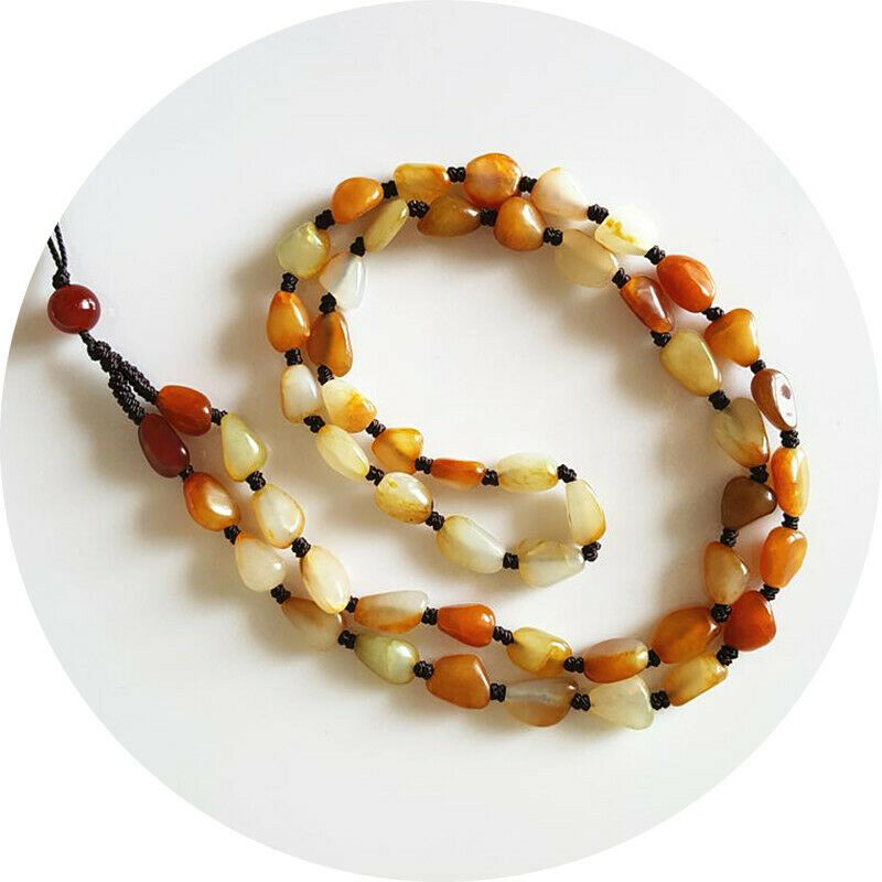 Natural Real Treasure Chinese Hetian Jade Pebble Raw Bead Hand Knitted Necklace|Statues & Sculptures| |  - title=