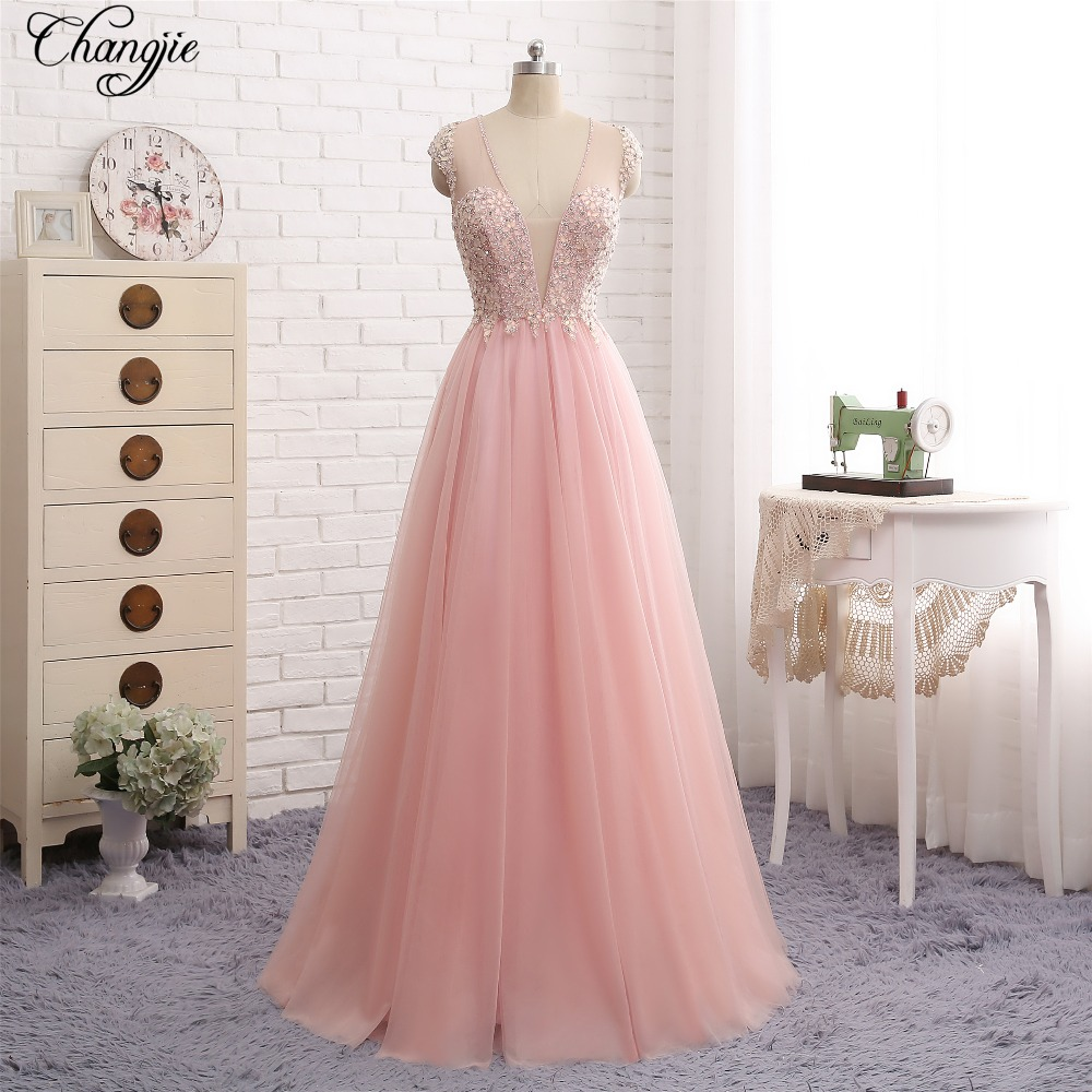 New Fashion 2018   Prom     Dresses   V-Neck Cap Sleeve Beaded Chiffon Floor Length Long Evening   Dress   Party Gown Vestido longo de festa
