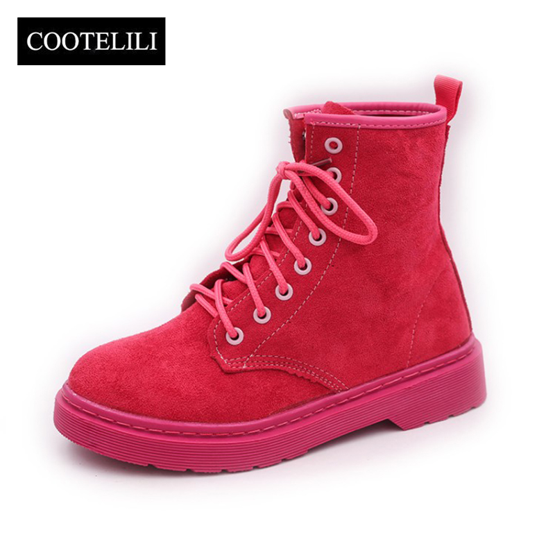 COOTELILI Women Boots Flats-Shoes Motorcycle-Boots Lace-Up Plus-Size Winter Ladies Warm