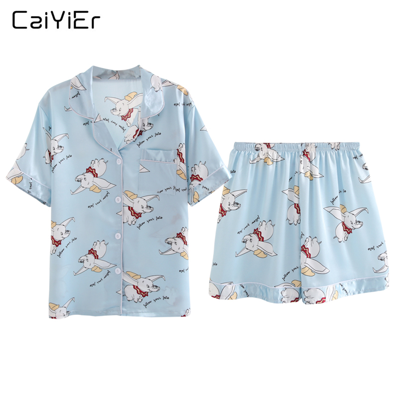 Caiyier Pink Cute Dumbo Print Silk Pajama Sets 2019 Summer Shorts Sleeve Sleepwear <font><b>Sexy</b></font> Ladies <font><b>Lingerie</b></font> Nightwear Homewear <font><b>5XL</b></font> image
