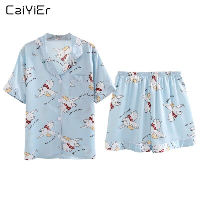 Caiyier Pink Cute Dumbo Print Silk   Pajama     Sets   2019 Summer Shorts Sleeve Sleepwear Sexy Ladies Lingerie Nightwear Homewear 5XL