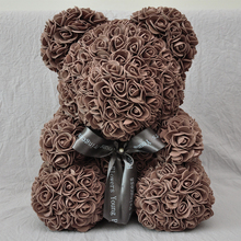 2018 Valentines Day Gift PE Coffee Brown Color Rose Bear for wedding ,Party (free Customize Ribbon Tie)