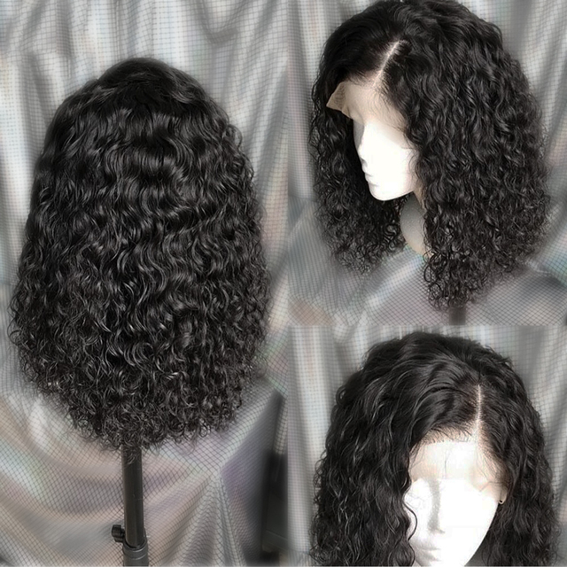 Curly Lace Front Human Hair Wig Pre Plucked With Baby Hair