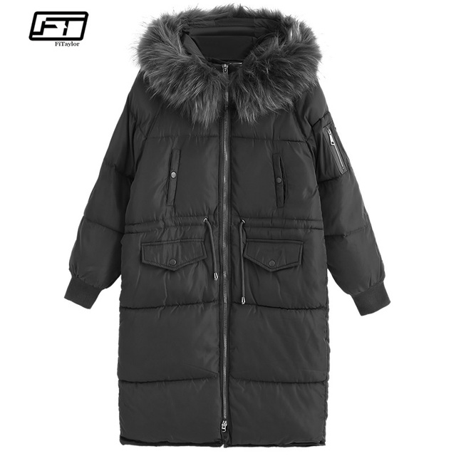 d3d836d4246 Fitaylor Winter Women Warm Cotton Jacket Coats Hooded Parka Thick Fur Collar  Loose Coat Female Snow Army Green Long Outerwear