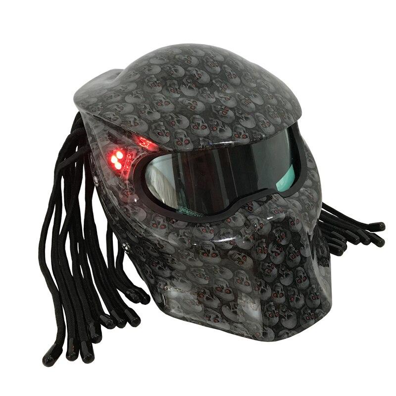 Nouveau Masei lumineux crâne camouflage prédateurs casque masque en fibre de verre moto aigle motif casque intégral moteur casque