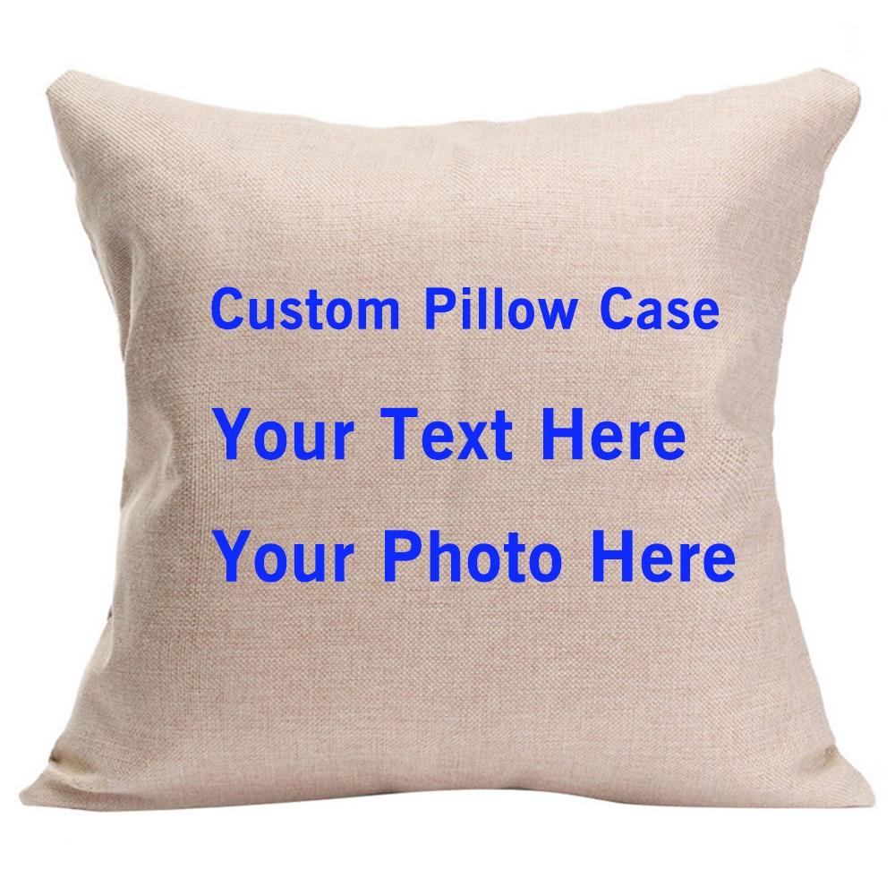 Rumah DIY Bercetak Imej Custom Cushion Cover Haiwan Peliharaan Peribadi Foto Pribadi Teks Kapas Linen Kes bantal hiasan Funda Cojines