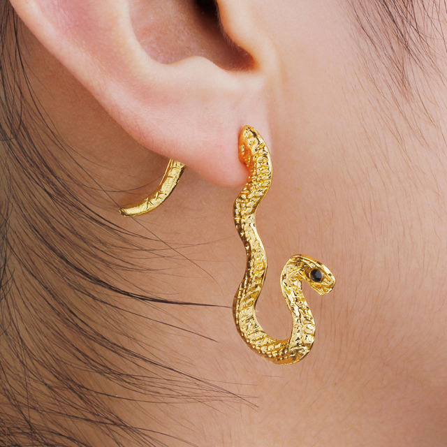 Doreen Box Double Sided Post Stud Earrings For Right Ear Gold Color Snake Black Rhinestone