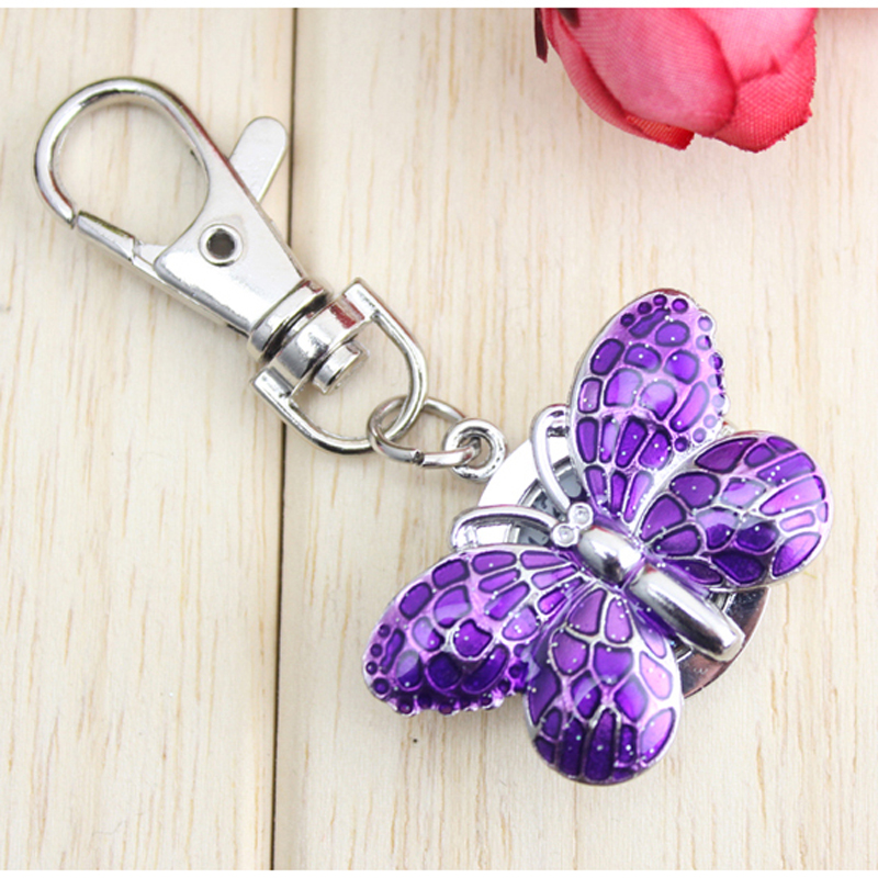 2018 cyd women girls children necklace pocket watches lovely butterfly quartz key chains pendant fob watch clock for students все цены