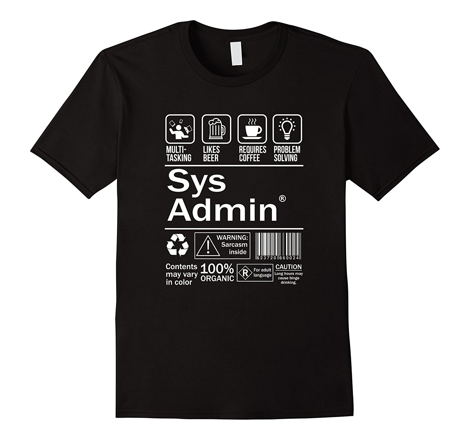 System Administrator Product Label T-Shirt Unix Linux Coffee T Shirt Casual Short Sleeve for Men Clothing Summer Top Tee