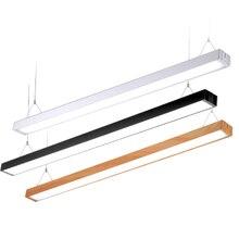 Светодиодный подвесной светильник для дома и офиса, длинный деревянный/алюминиевый светодиодный панельный светильник для кабинета, черный/серебристый Потолочный подвесной светильник