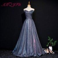 AXJFU Принцесса без бретелек без рукавов блестящие синие длинные роскошное вечернее платье винтажные красные вечерние сценические синие кру