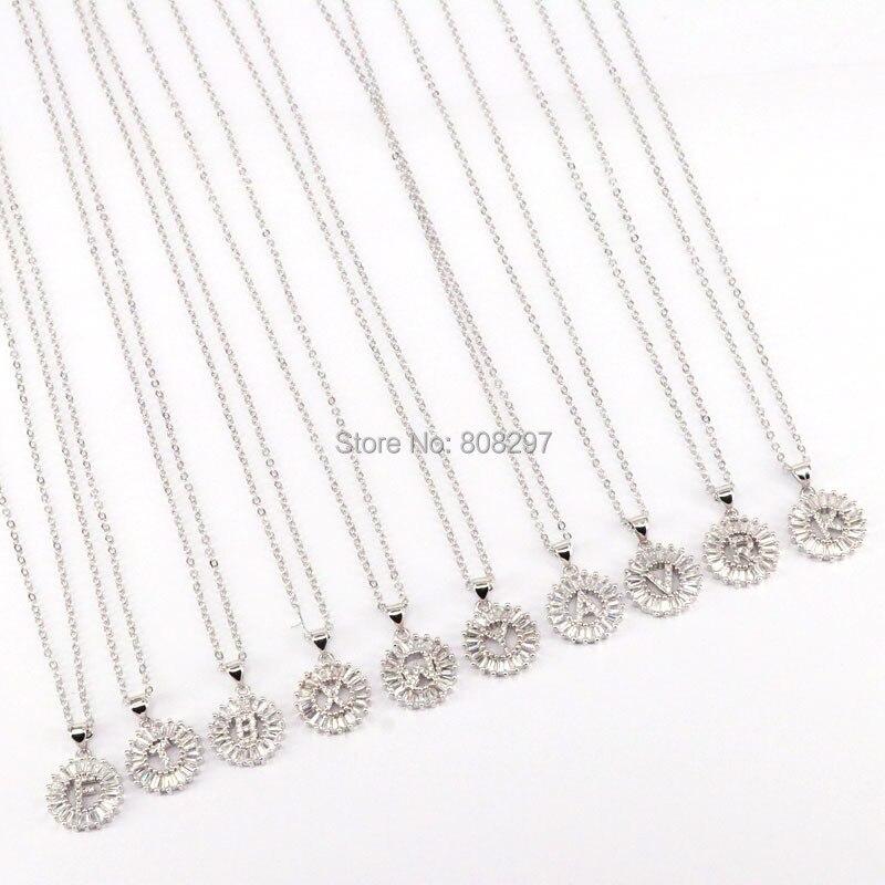 10Pcs Dark Silver Color Copper round shape mirco pave cz charm 26 Alphabet Letter Pendant necklace For Women