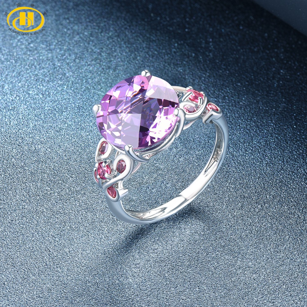 Jewelry & Accessories Hutang Engagement Ring Natural 5.5ct Amethyst Rhodolite Garnet Solid 925 Sterling Silver Fine Fashion Gemstone Wedding Jewelry Luxuriant In Design Rings
