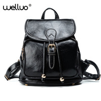 Women S PU Leather Rucksack Black And White Simple Backpacks Small Backpack Women College Wind Backpack