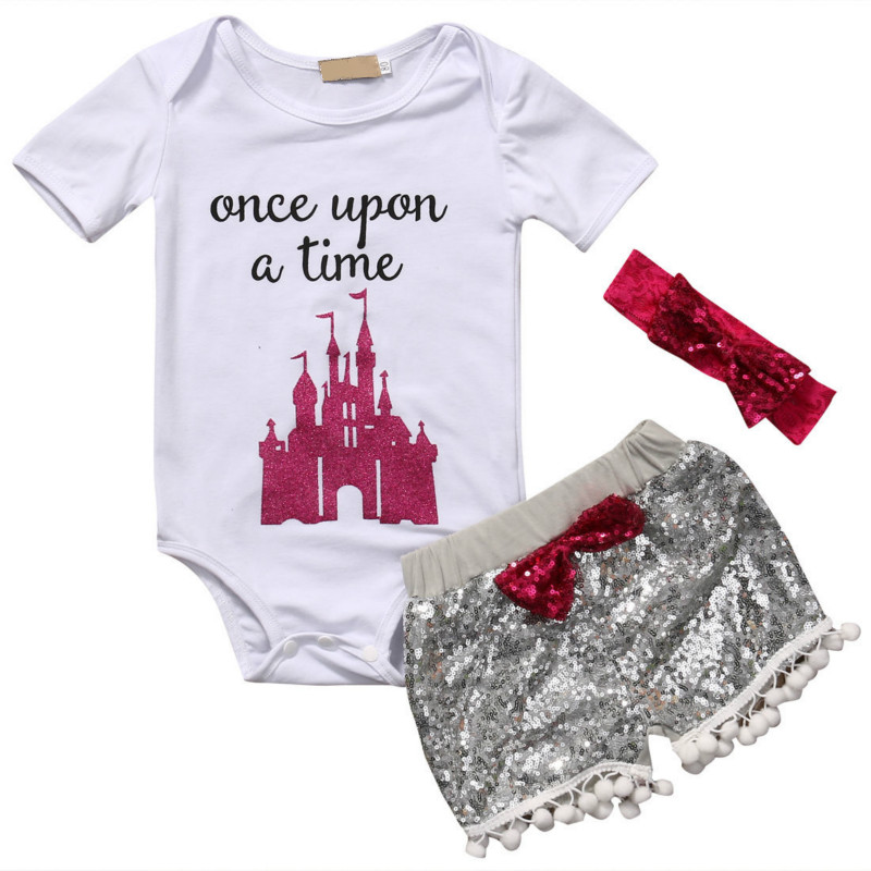 New Hot Sale 3PCS Set Newborn Baby Boys Girl Outfits Clothes Letter Rompers Bodysuit Tops Short Bling Sequin Bow Trendy Pants