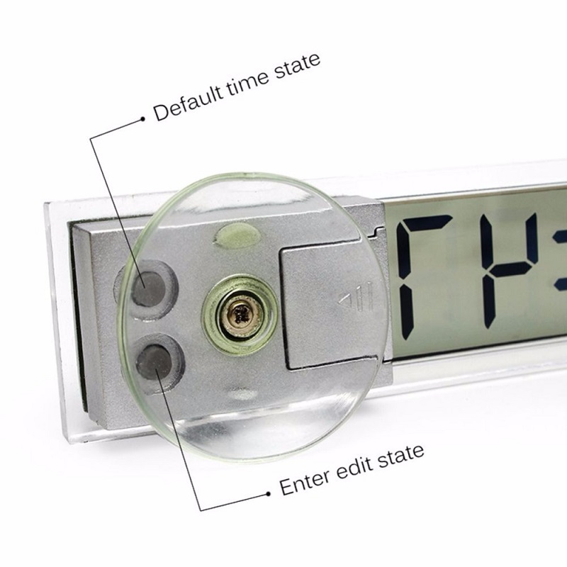 Автомобильные электронные цифровые часы на присоске, Мини цифровые часы с ЖК-дисплеем для центральной консоли, украшения для лобового стекла автомобиля