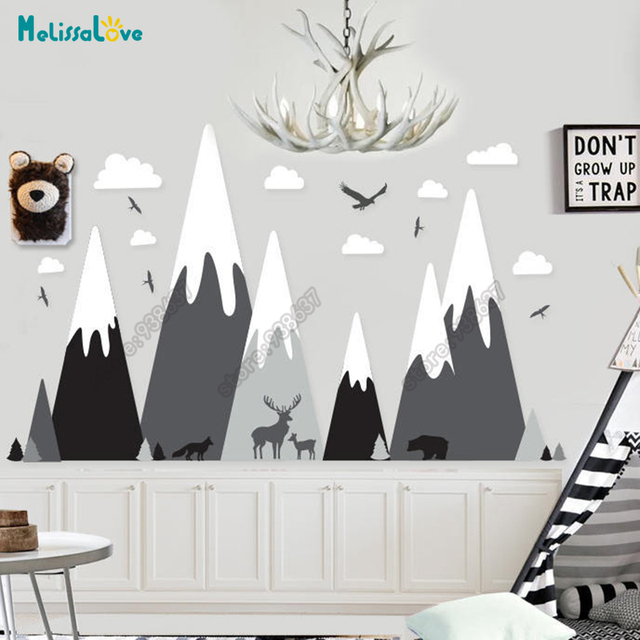 Baby Room Decal Adventure Theme Huge Mountain Cloud Bird Deer Wolf Bear Nursery Removable