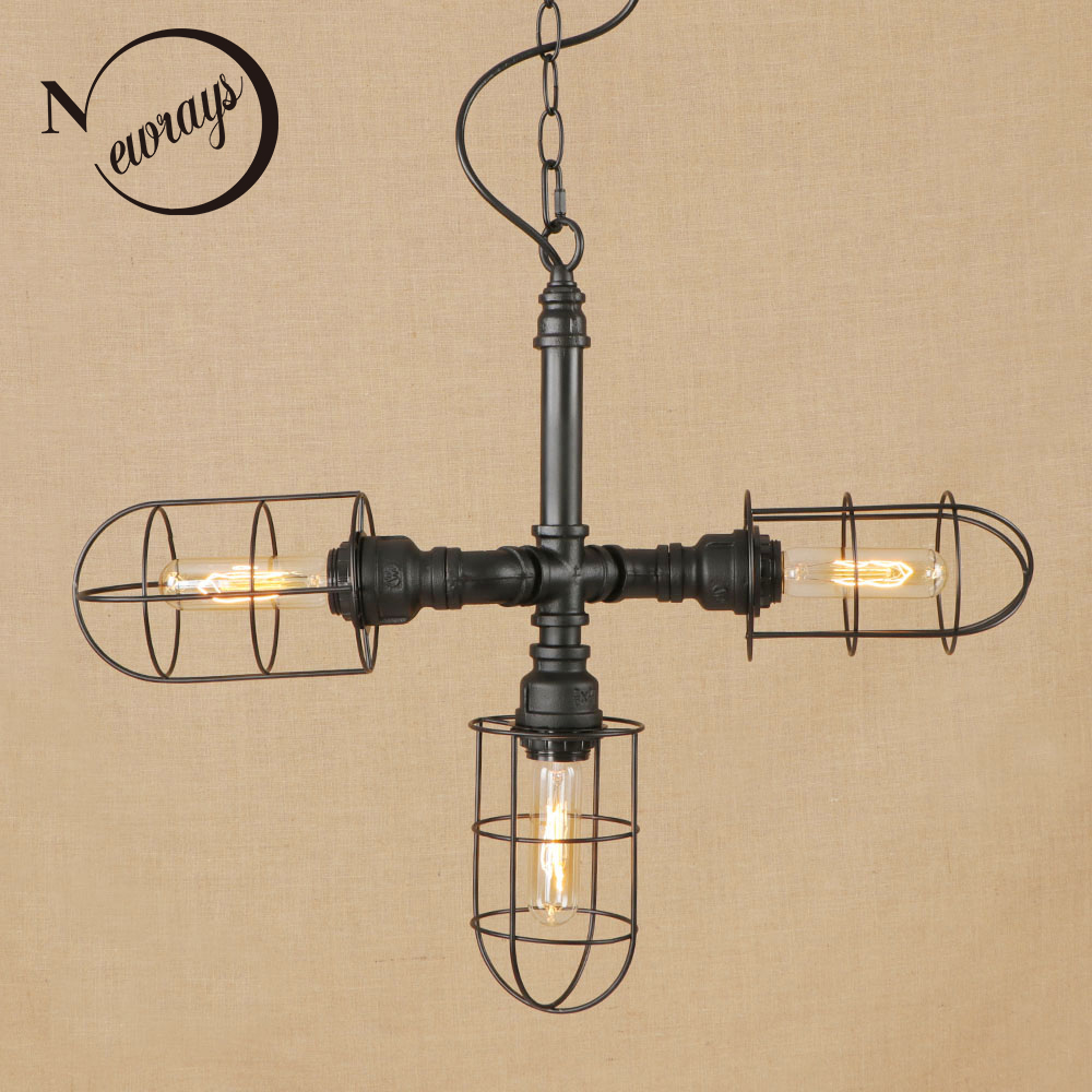 Vintage iron painted black pendant lamp LED 3 lamp Pendant Light Fixture E27 110V For Kitchen Lights bed room parlor dining room vintage iron painted brown hanging lamp led lamp pendant light fixture e27 220v for kitchen lights parlor dining room bed room