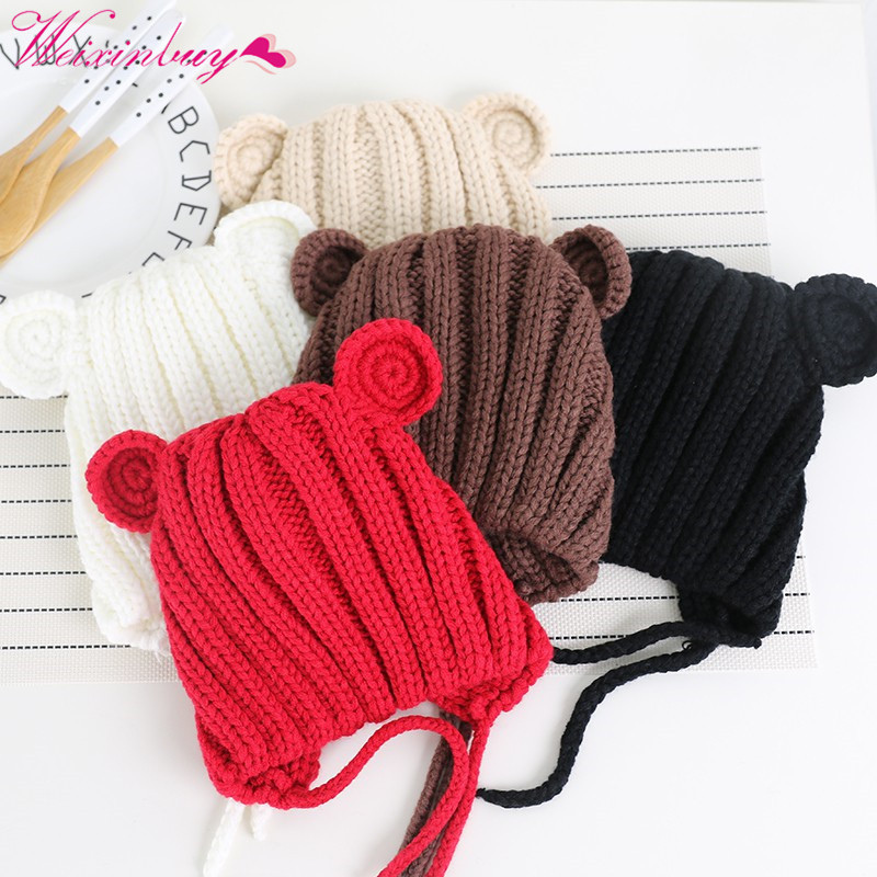 2018 Childrens hat Korean baby girls boys hat ear wool cap baby fall winter lace handmade цена
