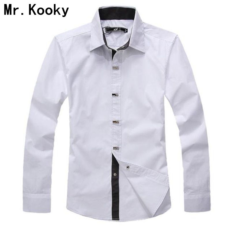 17a9728ceb4c49 Mr. kooky 2015 New Fashion wiosna jesień wysokiej jakości męskie ubrania  Casual długi rękaw koszulka solid 100% bawełna mężczyźni rozmiar XXL koszula
