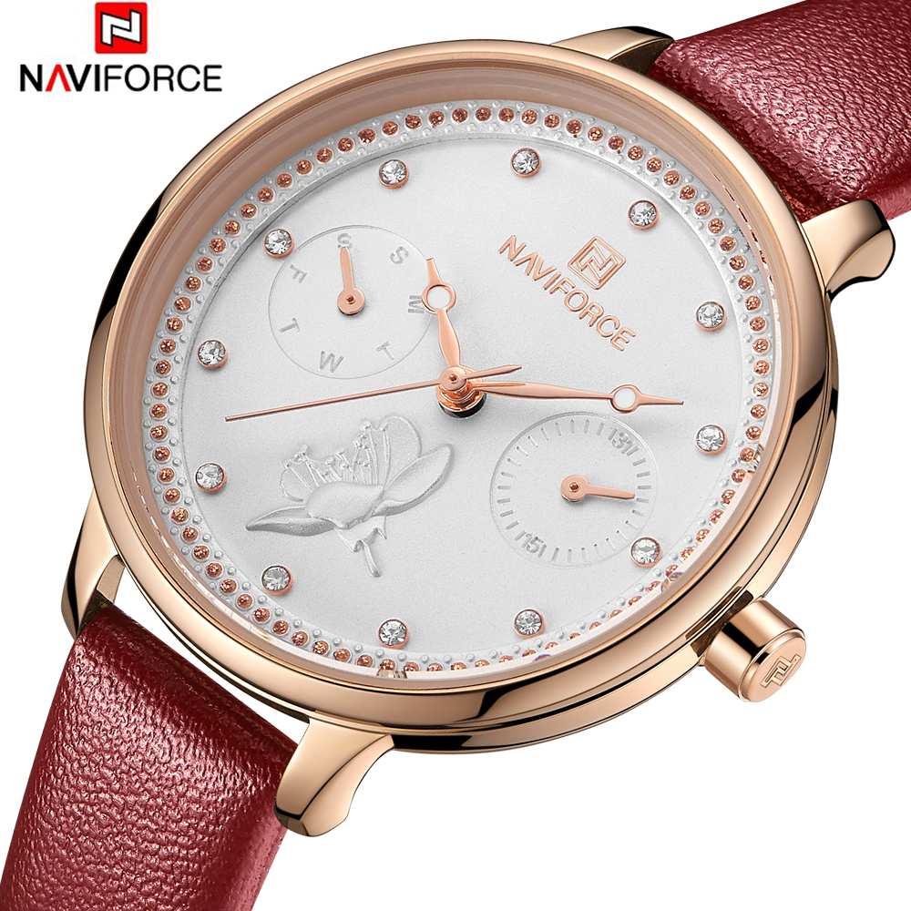 NAVIFORCE Women's Watches Fashion Ladies Watches For Women Leather Clock Dress Wristwatch Luxury Relogio Feminino Bayan Kol Saat