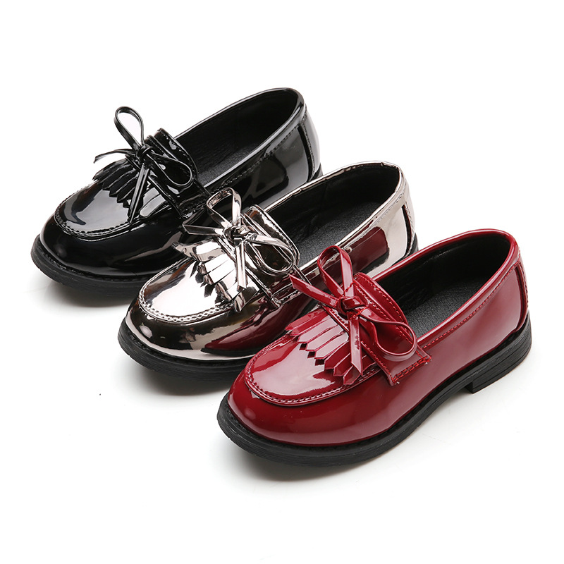 JUFOYU Girls Shoes 2018 Spring Girls PU Leather Shoes Fringed British Style Childrens Casual Shoes Fashion Bow Princess Shoes