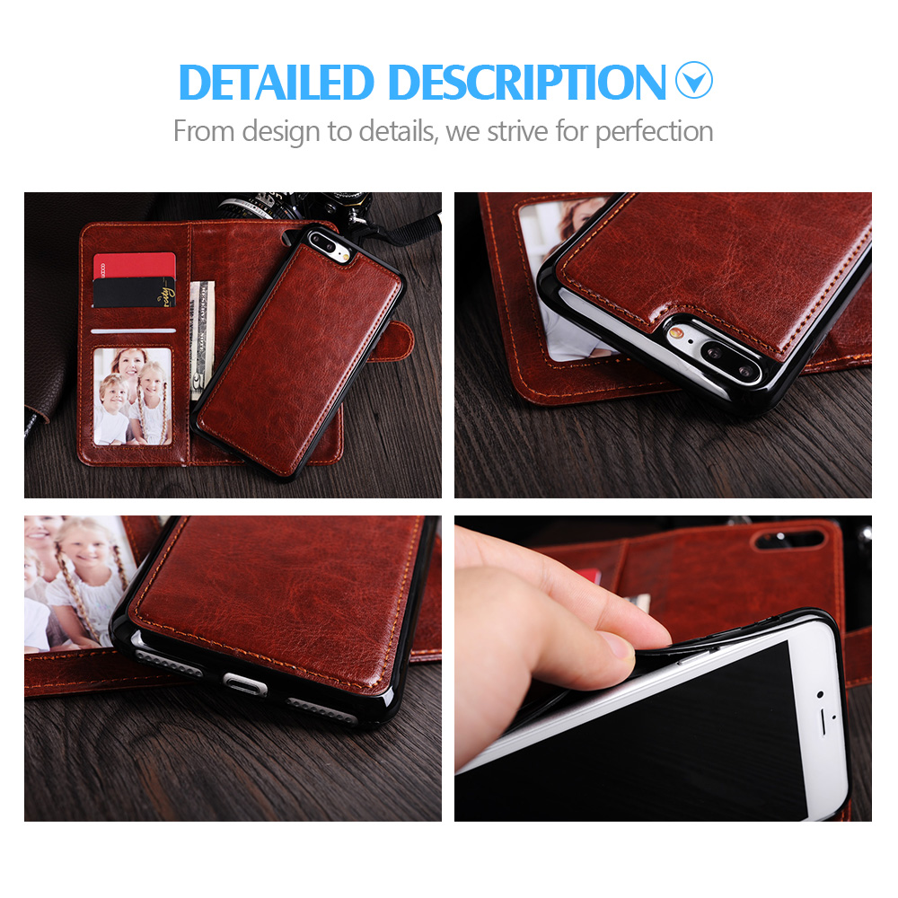 Untuk iPhone 7 Ditambah Kasus Mewah Dompet Magnet 2 In 1 Dilepas - Aksesori dan suku cadang ponsel - Foto 6
