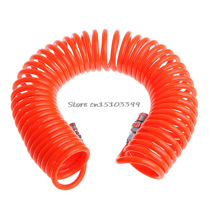 9M 29.5Ft 8mm x 5mm Flexible PU Recoil Hose Spring Tube For Compressor Air Tool G08 Drop ship 12m 39 ft 8mm x 5mm polyurethane pu recoil air compressor hose tube orange red free shipping