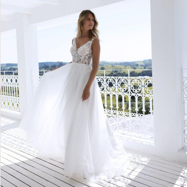 Clássico a line estilo applique floresce v decote sheer corpete vestido de noiva perfeito para dança praia vestido de noiva