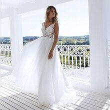 클래식 a 라인 스타일 applique 번성 v neckline 깎아 지른 bodice 신부 드레스 춤 해변 신부 드레스에 대 한 완벽 한