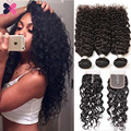 Unprocessed Water Wave Human Hair With Closure 8A Brazilian Hair Weave Bundles Ali Queen Hair Water Wave Virgin Hair 4 Pcs/Lot