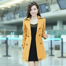 Plus Size XXXL 2017 Women's Casual Jackets Femininos Candy Color Double-Breasted Trench Coats Outwear Overcoat casaco de pelo
