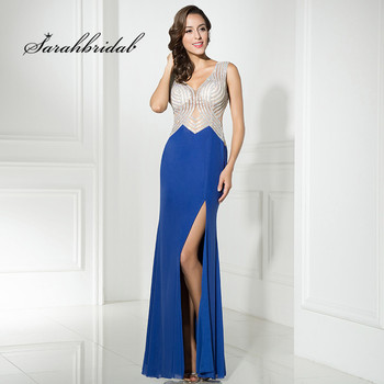 Sexy Adoration Long Mermaid Prom Dresses V-Neck Jersey Floor Length Back Open Sleeveless Prom Party Gowns Beading In Stock CC326