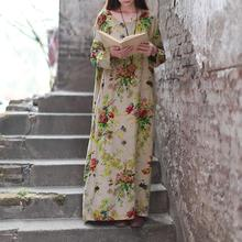 Vintage Women Maxi Dress Women Floral Print Cotton Linen Dress Long Sleeve O Neck Pocket Casual Long Robe Plus Size Dress Autumn брелок фонарик munkees цилиндр