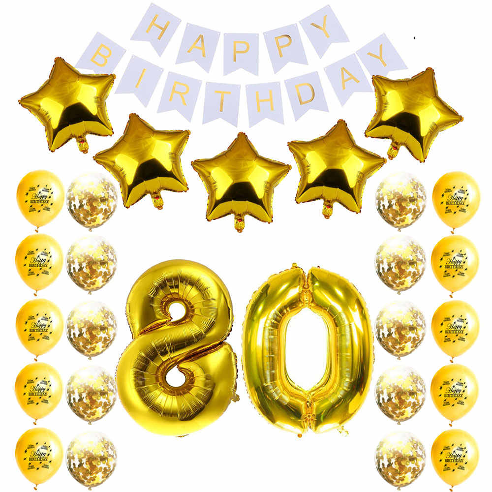 Detail Feedback Questions About Amawill 80th Birthday Party Decoration Happy Banner Gold Balloon 80 Years Old Supplies Kit 75D