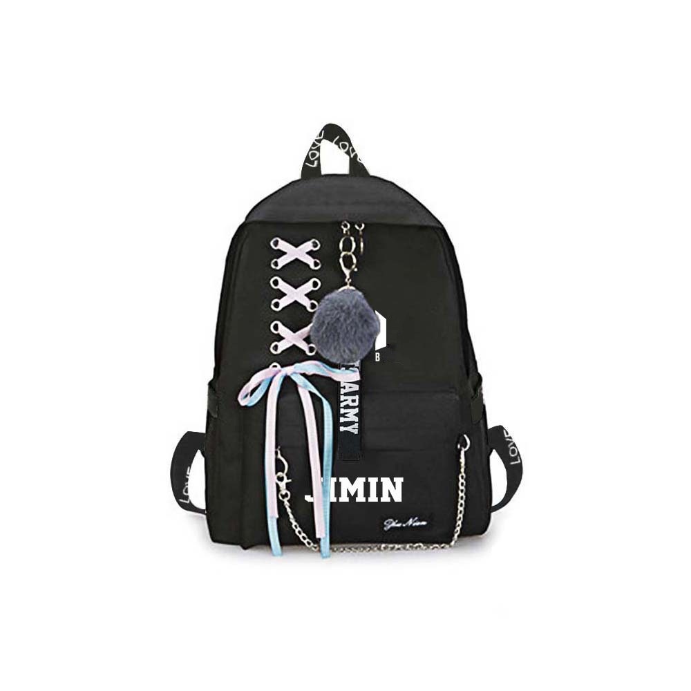 new kpop Bangtan JUNGKOOK suga v jin RM JIMIN same students cool shopping travel bag backpack Harajuku canvas bag bookbag
