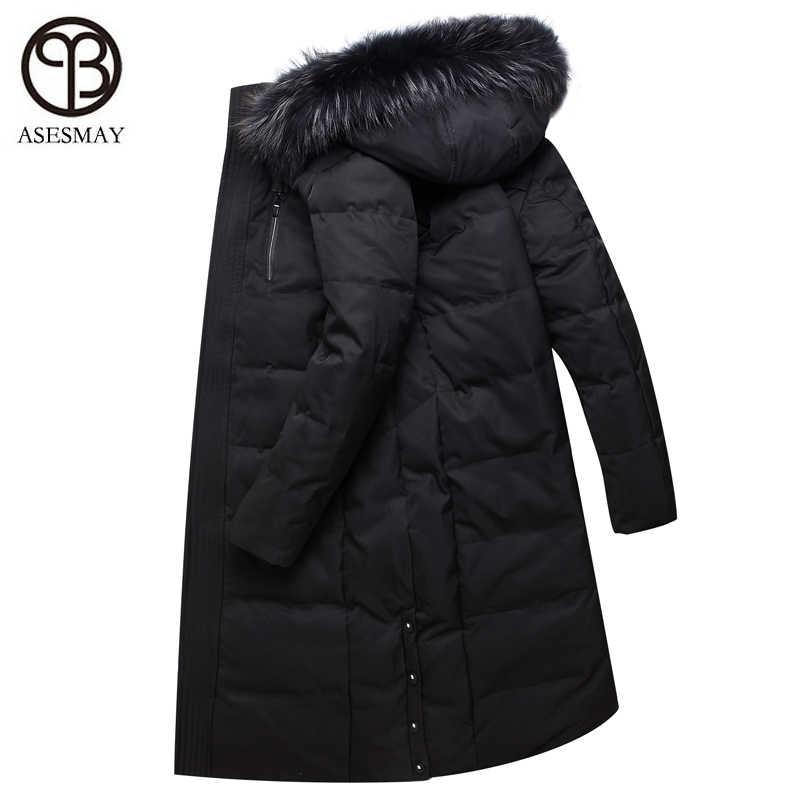 34ef80b10 Asesmay Brand 2018 Winter New Men's Down Jacket Fashion Casual Hooded Thick  Warm X-Long Mens Parkas Coats Fur Collar Jackets