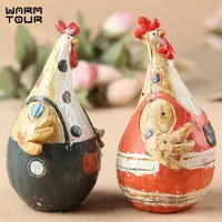 European Style Resin Chicken Couples 2PCS/LOT Wedding Gifts Animal Figurines Cabochon Home Decoration Crafts
