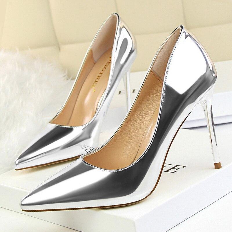 Mode Cuir Femmes Pompes blanc apricot Noir argent En chamagne Talons Chaussures rouge Femme Dames Verni Pm8Ny0wOvn